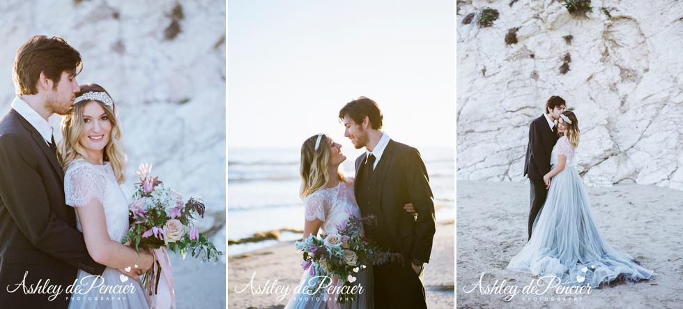 Bride and groom portraits on a beach