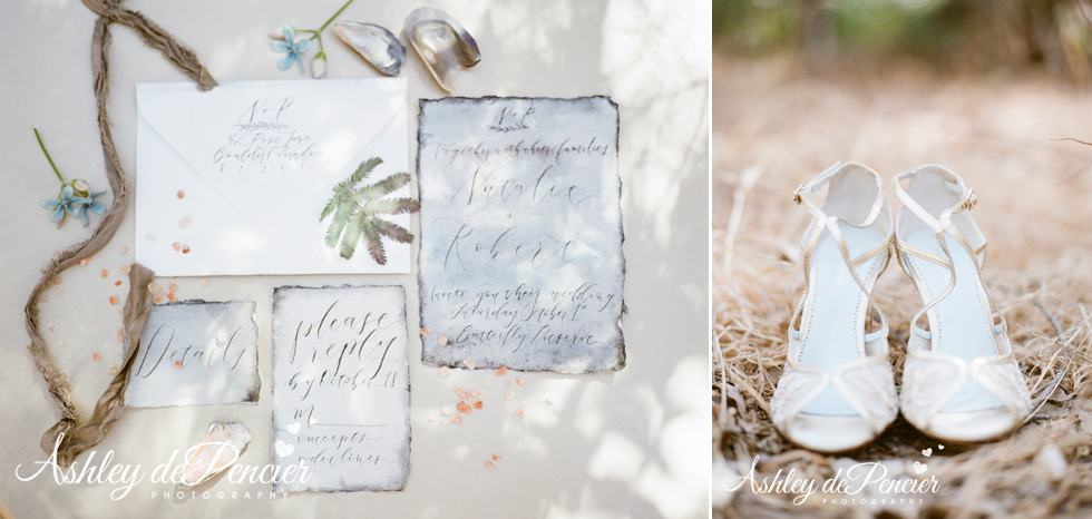 Beach-themed wedding invitations and shoes