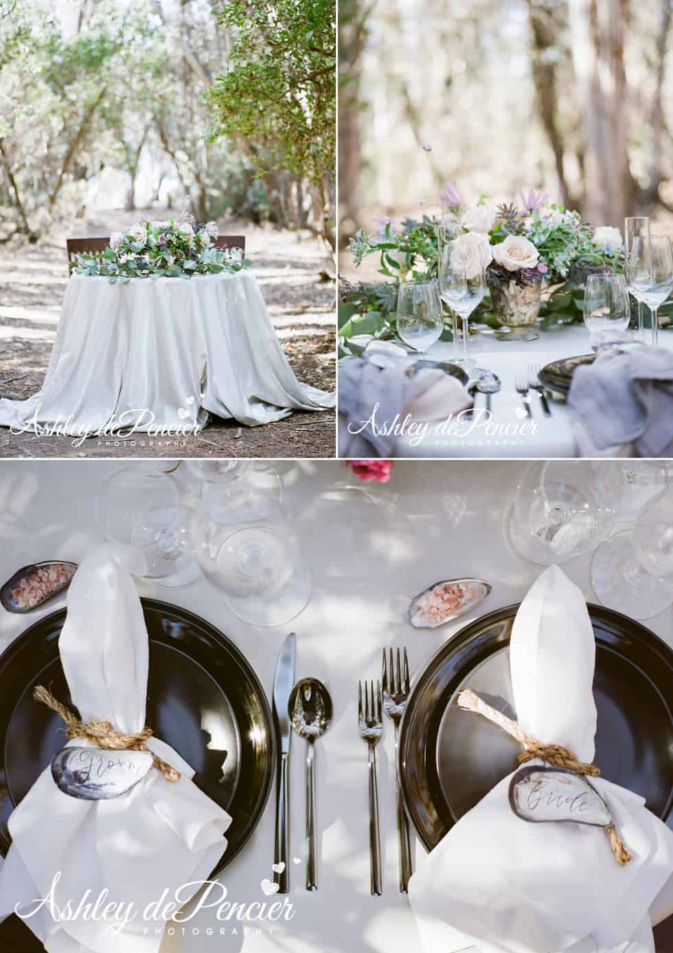 Wedding table settings and table linens