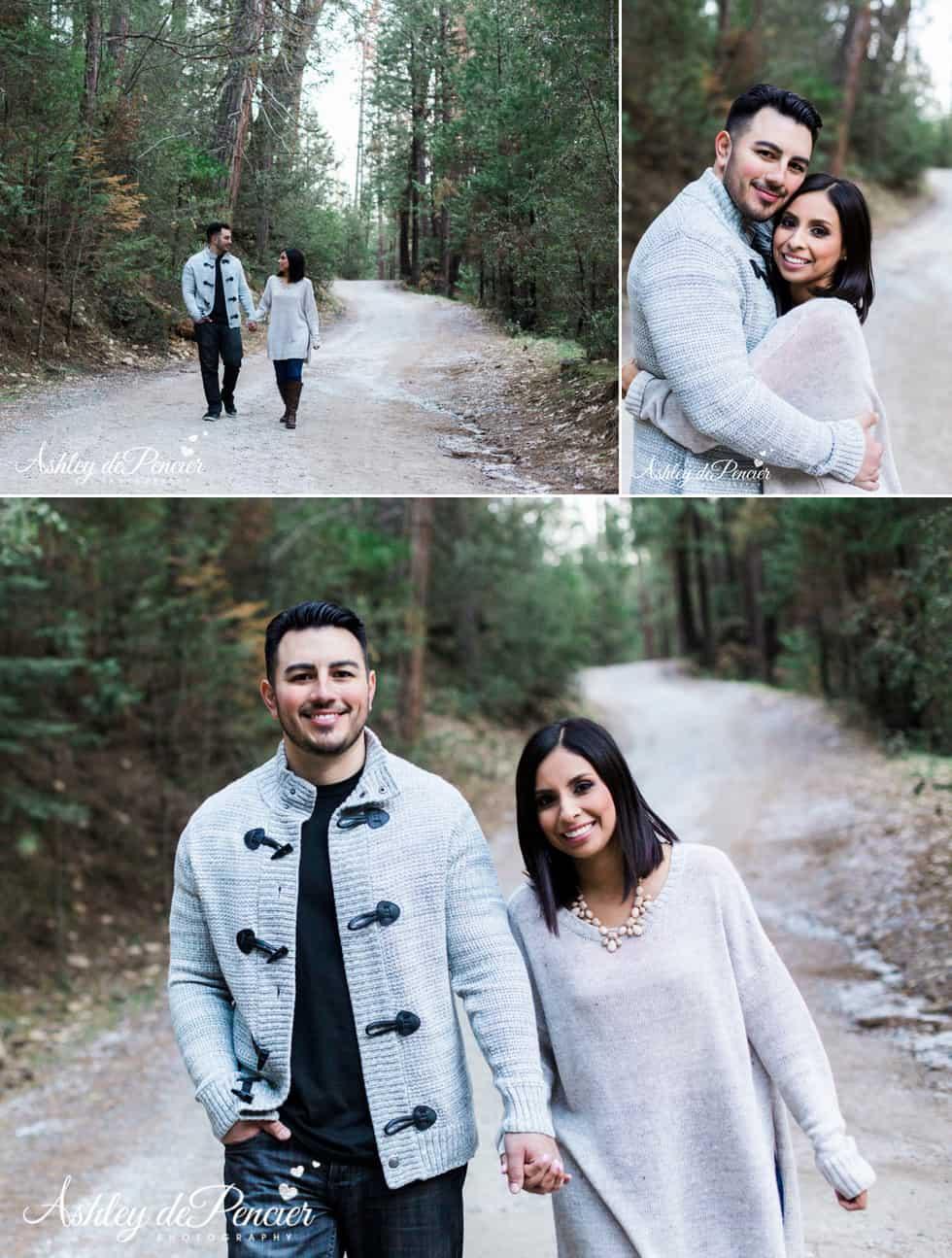 A couple walking down a gravel road