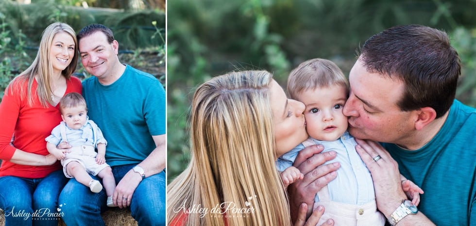 Outdoor portraits of a family of three