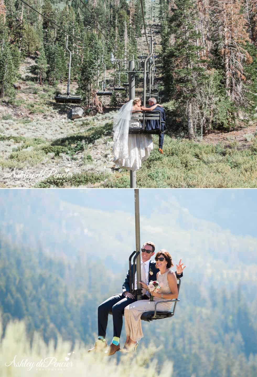 Wedding party riding the ski lift