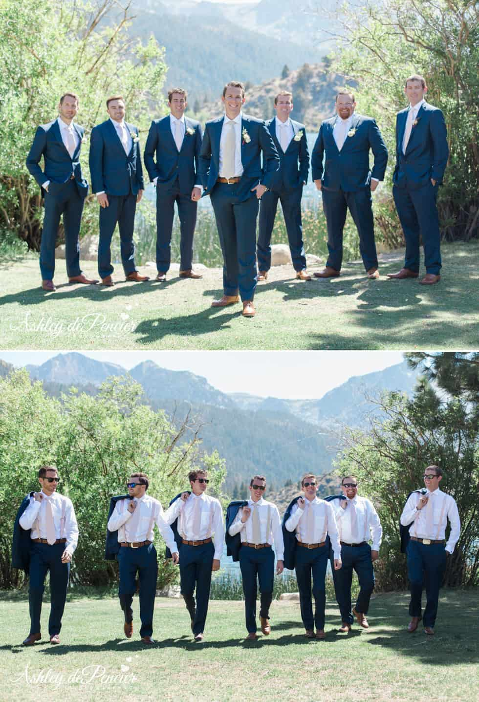 Groomsmen standing at June Lake
