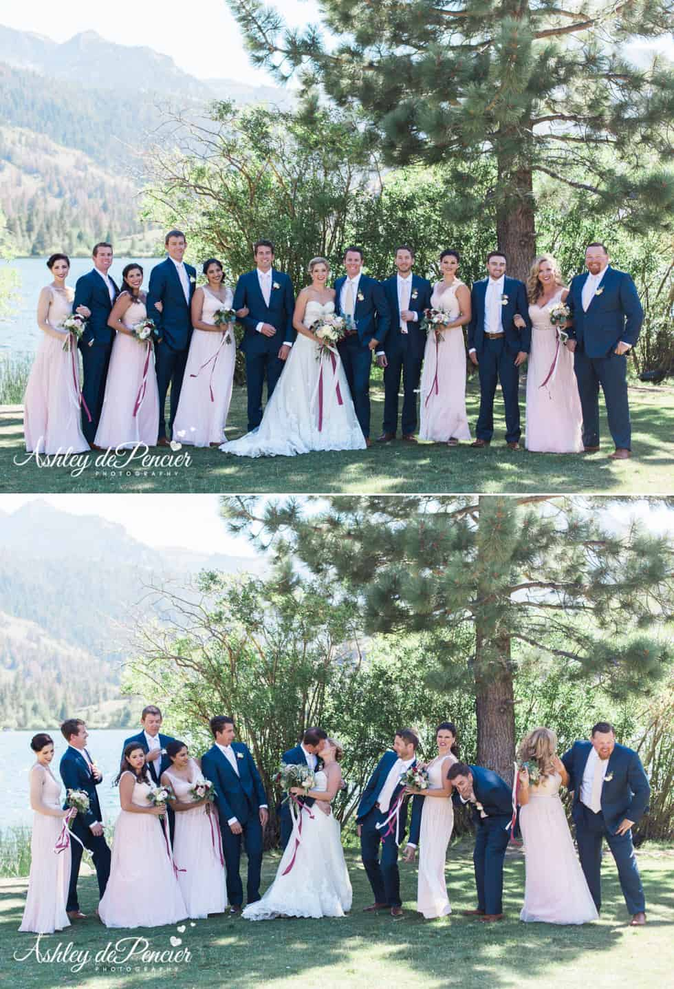 Outdoor bridal party wedding portraits