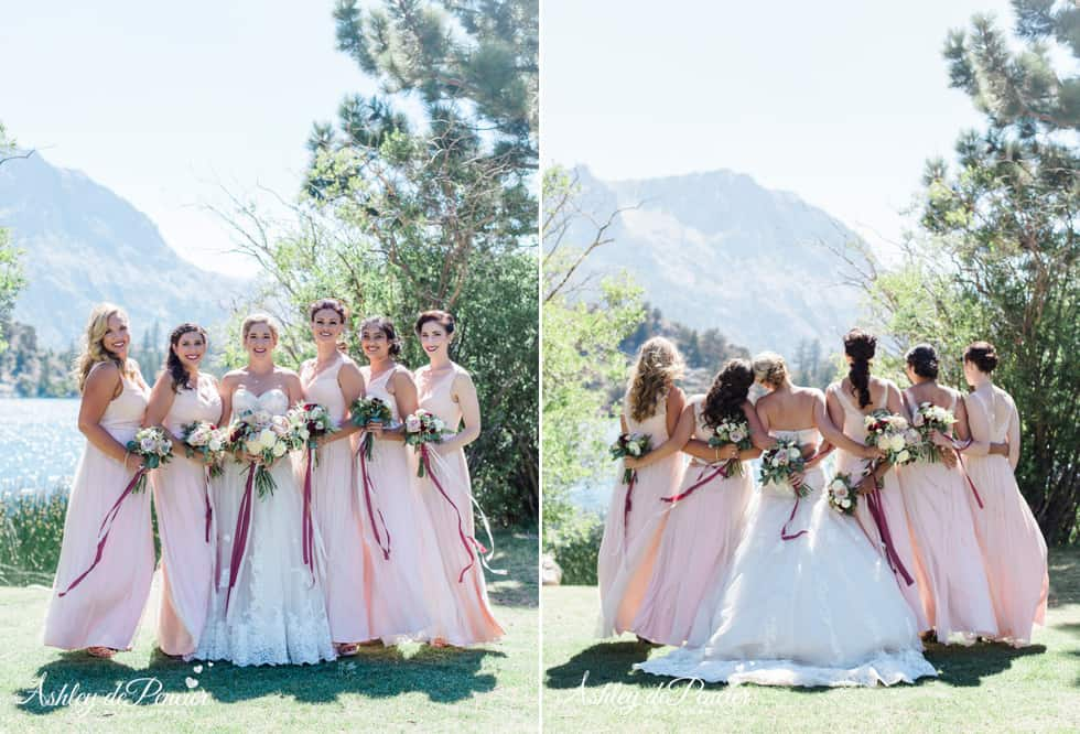 Bridal party portraits by the lake