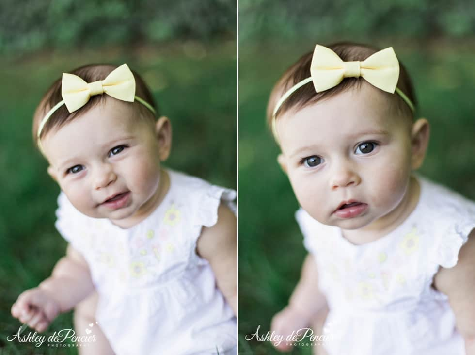 Little girl wearing a yellow bow