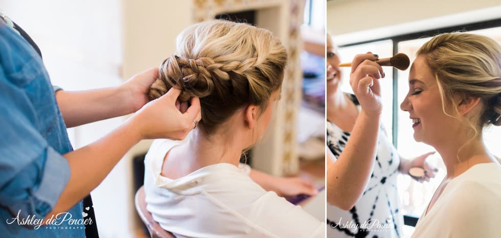 Bride getting her hair done on her wedding day