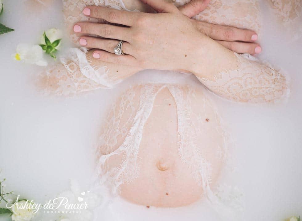maternity milk bath portrait