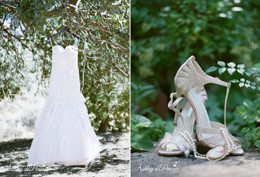 Portrait of a wedding dress and shoes