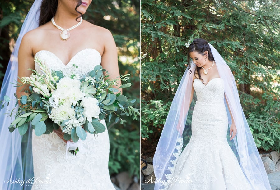 Portraits of a bride and her bouquet