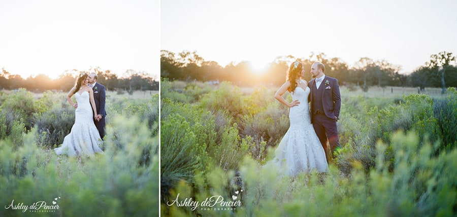 Sunset portraits of a bride and groom