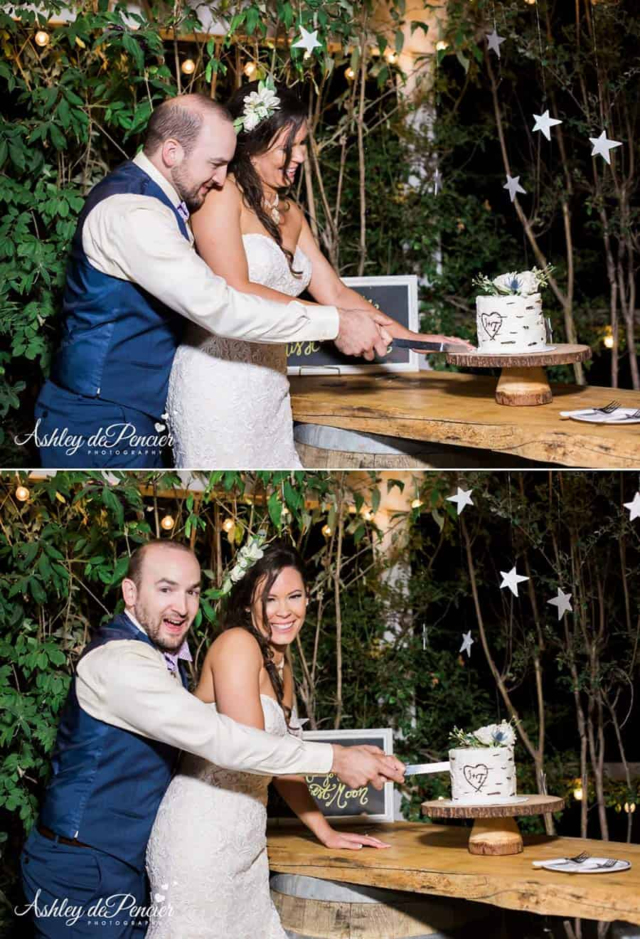Bride and groom cutting a cake