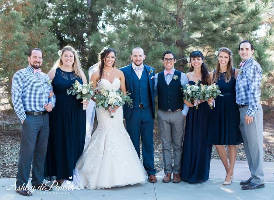 Family portraits taken at a wedding