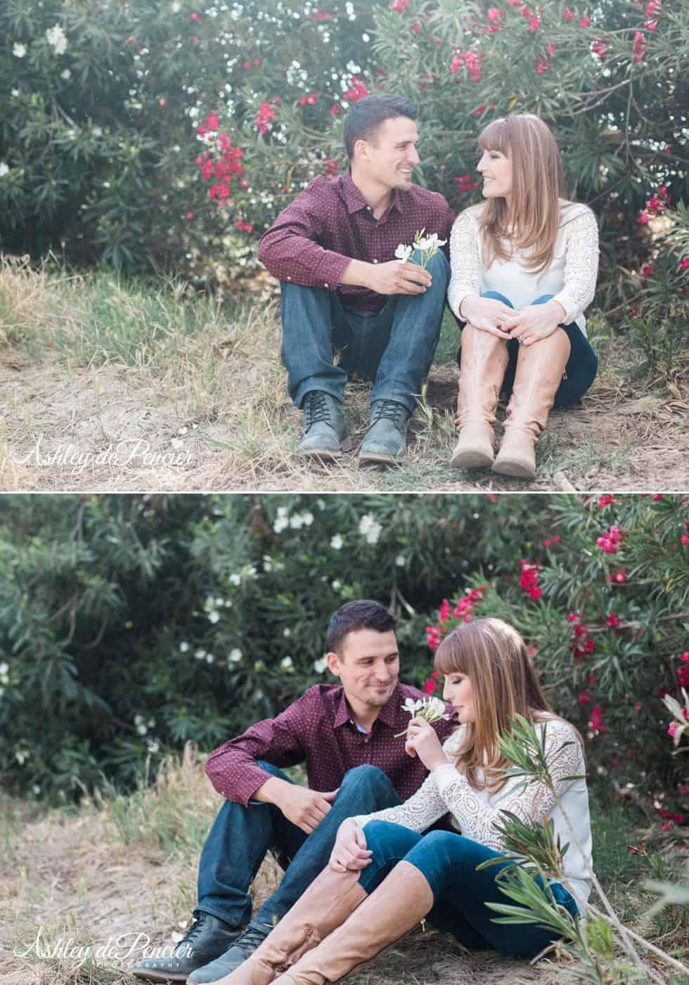 Engaged couple sitting outside talking