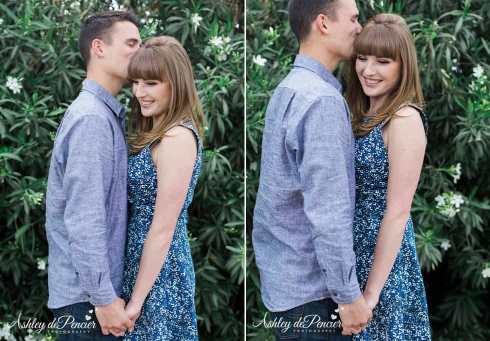 husband to be kissing his fiance