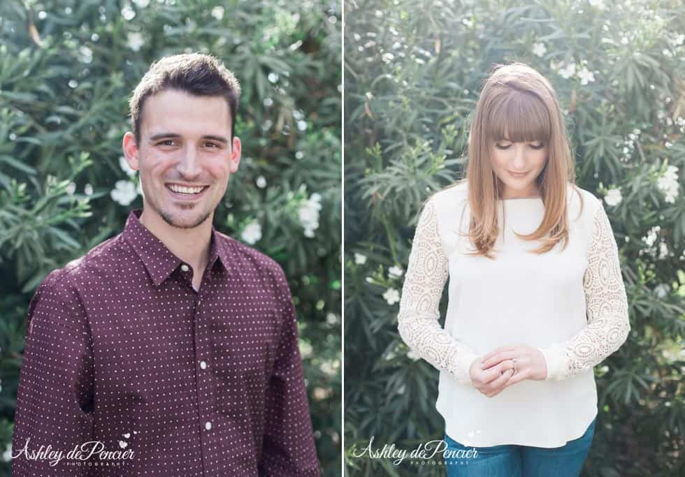 individual portraits of an engaged couple
